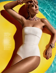 Stunning model Doutzen Kroes in bikini for Vogue China