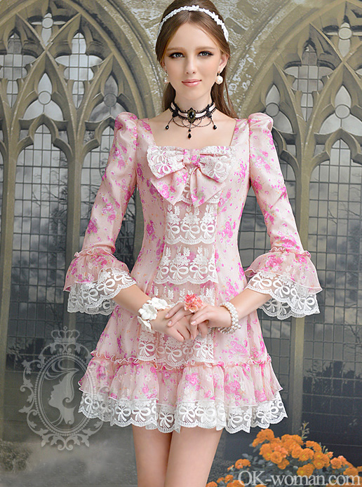 New Vintage Floral Dress  Rose Print Cotton Dress  Modern Romance Dress