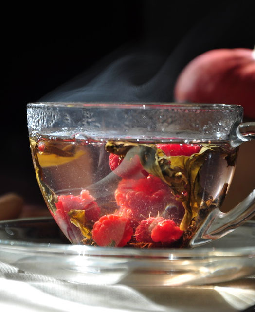 Hot raspberry tea