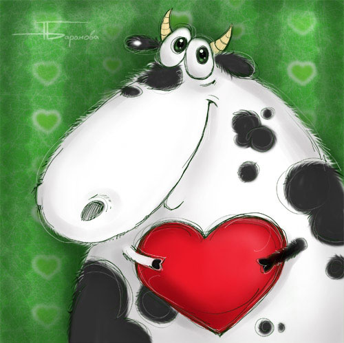 funny valentines day cow