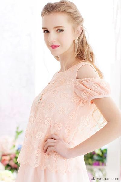 Romantic summer dress  light coral hue