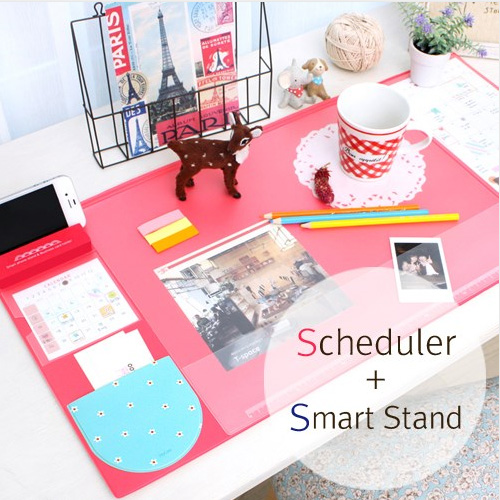 Cute Candy Color Rubber Office Mat Multifunctional Weekly Plan Organizer Large Desk Table Storage Memo Mat Learning Pad
