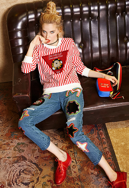 Printed Distressed Ripped Slim Fit Jeans Patchwork