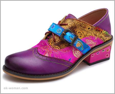 Vintage Flat Shoes Women Multi-Color Vintage Shoes for Women