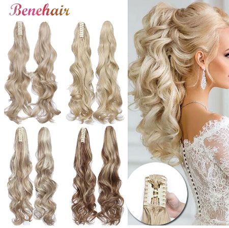 Fake Hair Ponytail Long Wavy Claw On Ponytail Clip In Hair Extensions Synthetic Hair Extensions Hairpiece For Women