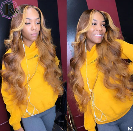 13X6 Body Wave Lace Front Human Hair Wigs Highlight Ombre Color Brazilian Remy Hair Lace Wigs 150% Density Pre-Plucked