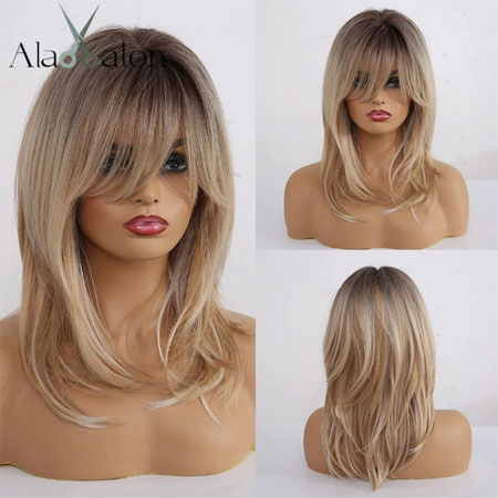 Synthetic Wigs Long Straight Layered Hairstyle Ombre Black Brown Blonde Gray Ash Full Wigs with Bangs for Black Women